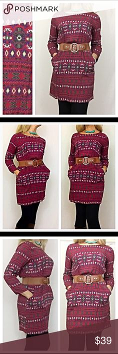 """Belted Tribal Tunic Dress SML Prettiest tribal belted tunic dress ever❣️Can't get much cuter than this elastic waisted, belted tribal print dress in wine, ivory, blue, green & yellow. Wear with or without leggings or tights. 100% soft rayon  Small Bust 32-34 Length 33"""" Medium Bust 36-38 Length 34"""" Large Bust 38-40 Length 34.5"""" Dresses"""
