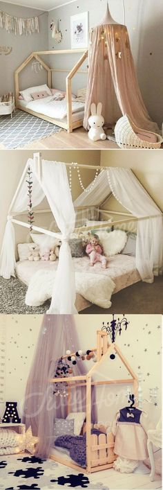 pretty pink designs.  These house beds are perfect for my toddler that is still struggling to make it through the entire night ON the bed.