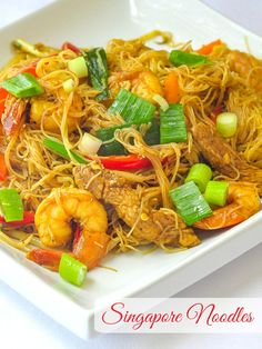 Singapore Noodles is one of my all time favourite Chinese take out meals but I like my homemade version even better. Rock Recipes, Asian Recipes, Healthy Recipes, Ethnic Recipes, Chinese Recipes, Yummy Recipes, Noodle Recipes, Seafood Recipes, Cooking Recipes