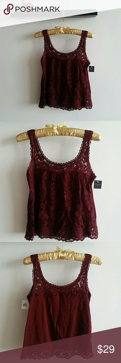 Abercrombie and Fitch Wine Burgundy Top XS NWT Beautiful summer top from Abercrombie and Fitch Abercrombie & Fitch Tops Crop Tops
