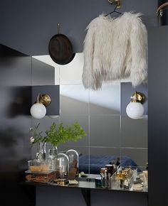 You can use lots of smaller mirrors like LOTS mirror from IKEA to make big wall mirrors. The 30-cm square mirrors come in a four-pack with double-stick tape for easy set-up.