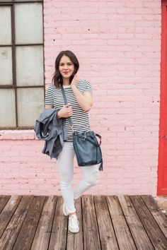 striped tee and whit