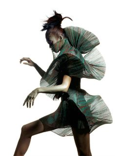 Sculptural Fashion with 3D silhouette; creative fashion design; artistic fashion // Issey Miyake