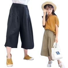 Children Wide Leg Pants For Girls Clothing Cotton Elastic Waist Loose Trousers Summer 2017  Teenage Clothes 4 6 8 10 12 14 Years