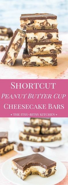 These shortcut peanut butter cup cheesecake bars are a quick and easy dessert, but they're still delicious as can be!