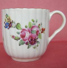 Worcester Porcelain Coffee Cup Painted Flowers c1780