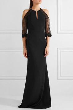 Roland Mouret - Carrington Cutout Lace-paneled Stretch-crepe Gown - Black - UK