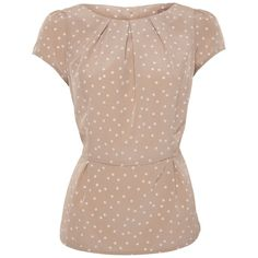 A|Wear Beige Polka Dot Peplum Blouse