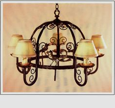 """R254-36 HT 22"""" W 36"""" FIVE LIGHT FORGED IRON CHANDELIER / POT RACK WITH HANDMADE SOLID BRASS BIRDS AND BOBESCHES"""