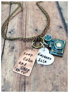 """Rustic """"Capture Life"""" Hand stamped Photography Necklace -mixed metals- Camera Jewelry, photographer  """"Keep Calm and Snap on"""""""