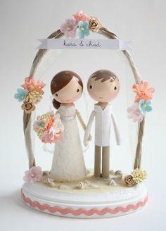 custom beach wedding cake topper - with arch