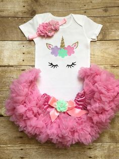A personal favorite from my Etsy shop https://www.etsy.com/listing/553294037/unicorn-first-birthday-outfit-first