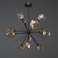 Hammerton Studio CHB0039-0H-BS-C-001-L1 Gem Metallic Beige Silver 48-Inch 12-Light LED Chandelier with Clear Blown Glass Gem | Bellacor