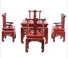Dolls House Miniature Oriental Furniture Rosewood Antique Square table &4 Chairs