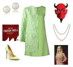 """""""Chanel #5 (scream queen)"""" by alicia-brockett ❤ liked on Polyvore featuring Chanel, San Andrès, Christian Louboutin, Bling Jewelry and Carolee"""