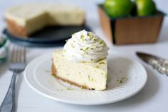 "A tart, creamy key lime pie with a graham cracker crust ""baked"" in the pressure cooker, then served topped with some lightly sweetened whipped cream."