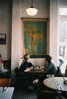 South America map in cafe Cafe Bar, My Sun And Stars, Restaurant Design, Art Restaurant, Woodstock, Wabi Sabi, South America, Latin America, At Least