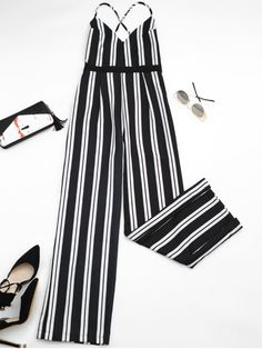 Criss Cross Stripes Wide Leg Jumpsuit - Stripe S Shorts Jeans, Cute Pants, Casual Jumpsuit, Cute Rompers, Jumpsuits For Women, Casual Looks, Wide Leg, Fashion Outfits, Fashion Ideas