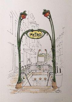 Paris Metro ~ sketch ~ John Edwards - My work inspiraton! Kunstjournal Inspiration, Sketchbook Inspiration, Travel Sketchbook, Art Sketchbook, Illustration Parisienne, City Sketch, Drawing Sketches, Drawings, Sketch Journal