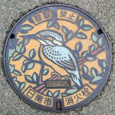 bird in tree manhole cover art