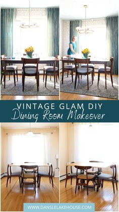 Beautiful Mid-Century Modern Inspired Dining Room Makeover Reveal (from Dans le Lakehouse). Click through to tour this vintage dining room decor with vintage dining room ideas! I love the vintage dining room chairs we found and the mid-century modern inspired light fixture. Neutral Hygge & West wallpaper and glam silk draperies add an upscale touch! Packed with DIY projects - come see this dining room before and after! #diningrooms #vintagemodern #vintagediningroom #vintagedecor Modern Cottage Decor, Contemporary Cottage, Dining Room Wall Decor, Dining Room Design, Room Decor, Dining Room Light Fixtures, Dining Room Lighting, Mid Century Modern Dining Room, Turquoise Home Decor