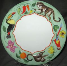 Lynn Chase-OUr Wedding Pottery-So fun! Copper Lamps, Monkey Business, China Patterns, Ceramic Pottery, Kitsch, Our Wedding, Whimsical, Tropical, Plates