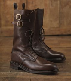 Mens Grain Leather Twin Strap Boot by James Purdey & Sons