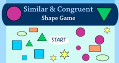 Game to reinforce the difference between similar and congruent shapes. Great introduction the subject. Grade 6 Math, Fourth Grade Math, Sixth Grade, Grade 2, Second Grade, Teaching Geometry, Teaching Math, Teaching Ideas, Maths