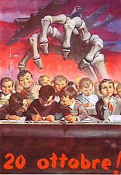 """On Oct. 20, 1944 USAAF bombers were sent to bomb the Breda, Isotta Fraschini and Alfa Romeo plants in Milan. Due to a navigation error, some bombs were dropped on the heavily populated suburbs of Gorla and Precotto. Over 400 children of the """"Pietro Crispi"""" elementary school were killed. Poster by Gino Boccasile."""