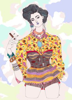 This Bad Girl drawing is really nicely portrayed. From the vest and the design of the clothes, it adds on the bad sense on the girl with the smoke. The hair style also creates this mood.