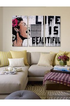 Life Is Beautiful 60in x 40in 3-Piece Canvas Print