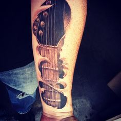 "This tattoo was done in Nashville, TN by Ian White. Ian has done all of my tattoos and this one is by far my favorite. I moved to Nashville in 1998 to ""make it big"" as a guitar player. Little did I know that moving to Nashville would have a huge impact on my life. I still play to this day but not ""professionally"". These days I am a software developer but I have playing the guitar to thank for my journey through live thus far."