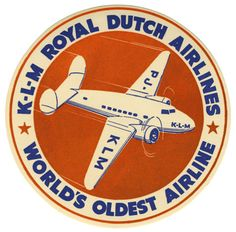 KLM Royal Dutch Airlines: World's Oldest Airline, 1920. (luggage Label) Artist Unknown.