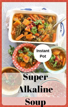 Super Alkaline Soup is a delicious, nutritious combination of high alkaline foods in a spicy, warm soup. Vegan Crockpot Recipes, Soup Recipes, Vegetarian Recipes, Cooking Recipes, Healthy Recipes, Vegetarian Sandwiches, Going Vegetarian, Vegetarian Breakfast, Vegetarian Dinners