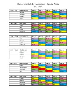 elementary school master scheduling - Google Search | schedules ...