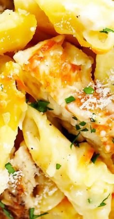 This Chicken Alfredo Baked Ziti recipe is made with a lightened-up alfredo sauce, and easy to customize with extra veggies and seasonings! Vegan Bbq Recipes, Best Italian Recipes, Favorite Recipes, Casserole Recipes, Pasta Recipes, Chicken Recipes, Baked Chicken, Butter Pasta, Lotsa Pasta