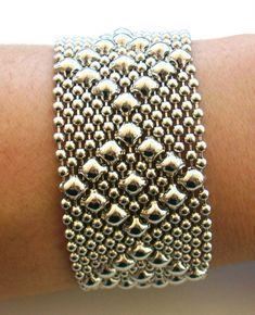 Liquid Metal Medellin Medium Diamonds Mesh Cuff Bracelet by Sergio Gutierrez B9