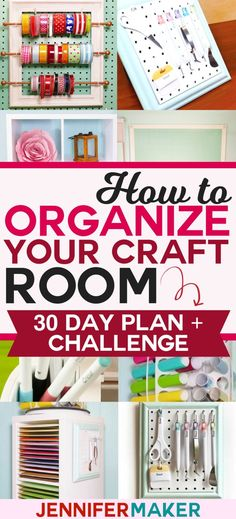 How to Organize Your Craft Room in 30 Days - Free Email Challenge, Tips, Tricks, and Tutorials! Arts And Crafts For Teens, Art And Craft Videos, Easy Arts And Crafts, Arts And Crafts House, Arts And Crafts Projects, Space Crafts, Craft Space, Sewing Projects, Diy Crafts