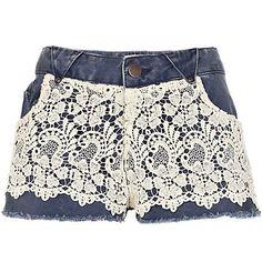Blue Chelsea Girl lace overlay denim shorts - denim shorts - jeans - women