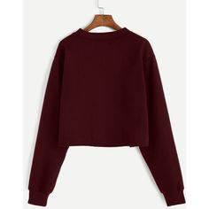 SheIn(sheinside) Burgundy Alien Embroidered Crop Sweatshirt ($16) ❤ liked on Polyvore featuring tops, hoodies, sweatshirts, sweaters, burgundy top, red long sleeve top, cotton sweatshirts, red sweatshirt and crop top