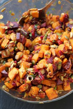 Roasted Sweet Potato Salad with Cranberry-Chipotle Dressing @Joanne Bruno #pasta #sweetpotato