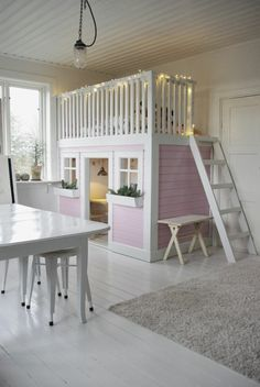 Little Girls Shared Bedroom Small Space Makeover Something as simple as this with an added slide could work in the preschool area. The post Little Girls Shared Bedroom Small Space Makeover appeared first on Toddlers Diy. Play Beds, Kids Bunk Beds, Loft Beds, Big Girl Rooms, Girl Bedrooms, Cool Kids Bedrooms, Shared Bedrooms, Dream Rooms, My New Room