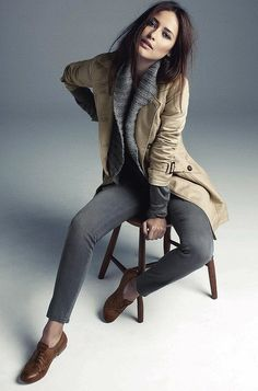 layer up // grey cardigan and pants plus those brown oxfords