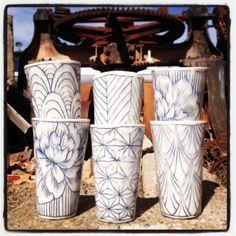 New Tumblers, Porcelain, Inlaid Slip, Glaze.   www.gisellehicks.com