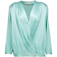 Pierre Balmain - Pleated Silk-satin Wrap Blouse ($454) ❤ liked on Polyvore featuring tops, blouses, mint, mint green blouse, blue blouse, blue top, pleated blouse and embellished tops