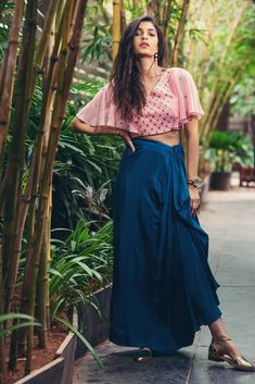 Pink Bat Sleeves Crop Top with Blue Pleated Skirt Lengha Blouse Designs, Blue Pleated Skirt, Half Sleeves, Lehenga, Kurti, Couture, Clothes For Women, How To Wear, Girly