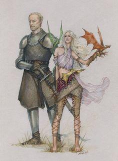 Ser Jorah Mormont, Daenerys Targaryen w/ Viserion, Rhaegal and Drogon #got #agot #asoiaf