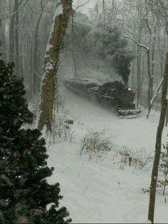 A steam locomotive plows through snowy woods, date unknown.