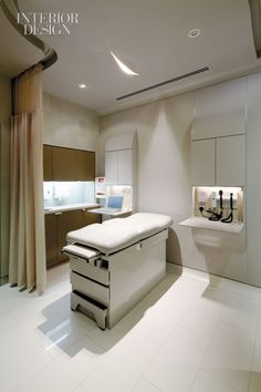 patient rooms I curvature in the curtain track to give the feeling of a larger room