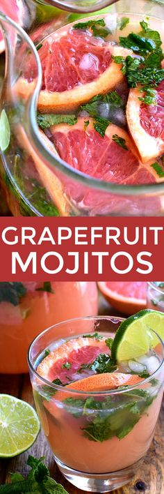 """If you love grapefruit...and cocktails...these Grapefruit Mojitos are for YOU! A delicious twist on the classic mojito recipe, these Grapefruit Mojitos combine grapefruit juice, lime juice, fresh mint, and rum in a refreshing drink that's sure to have you saying, """"Cheers!"""""""